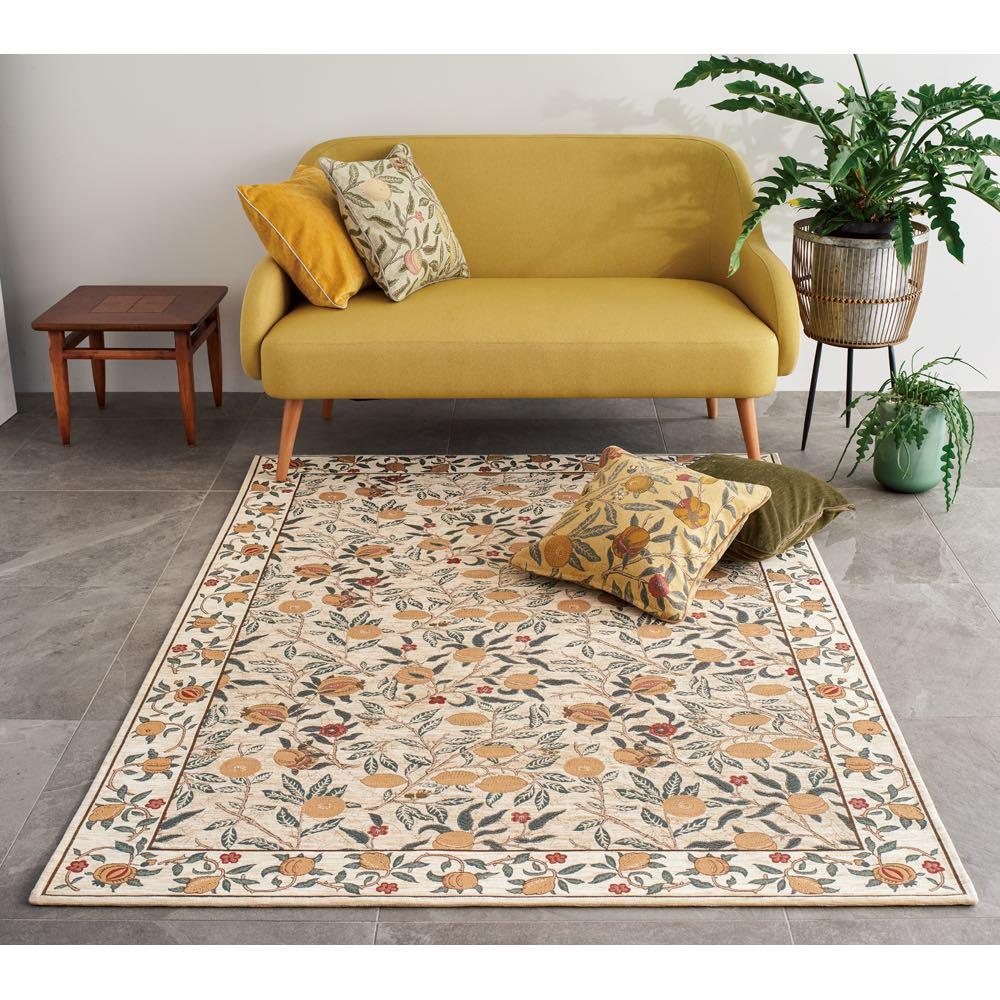 ベルギー製モリスデザインスタジオ ゴブラン織ラグ〈フルーツ〉約140×200 (ア)イエロー 写真は140×200サイズです
