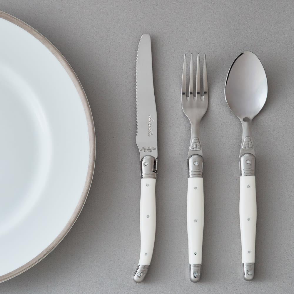 ジャンデュポ ライヨール ナイフ&フォーク&スプーン 3本セット (ア)ミルクホワイト