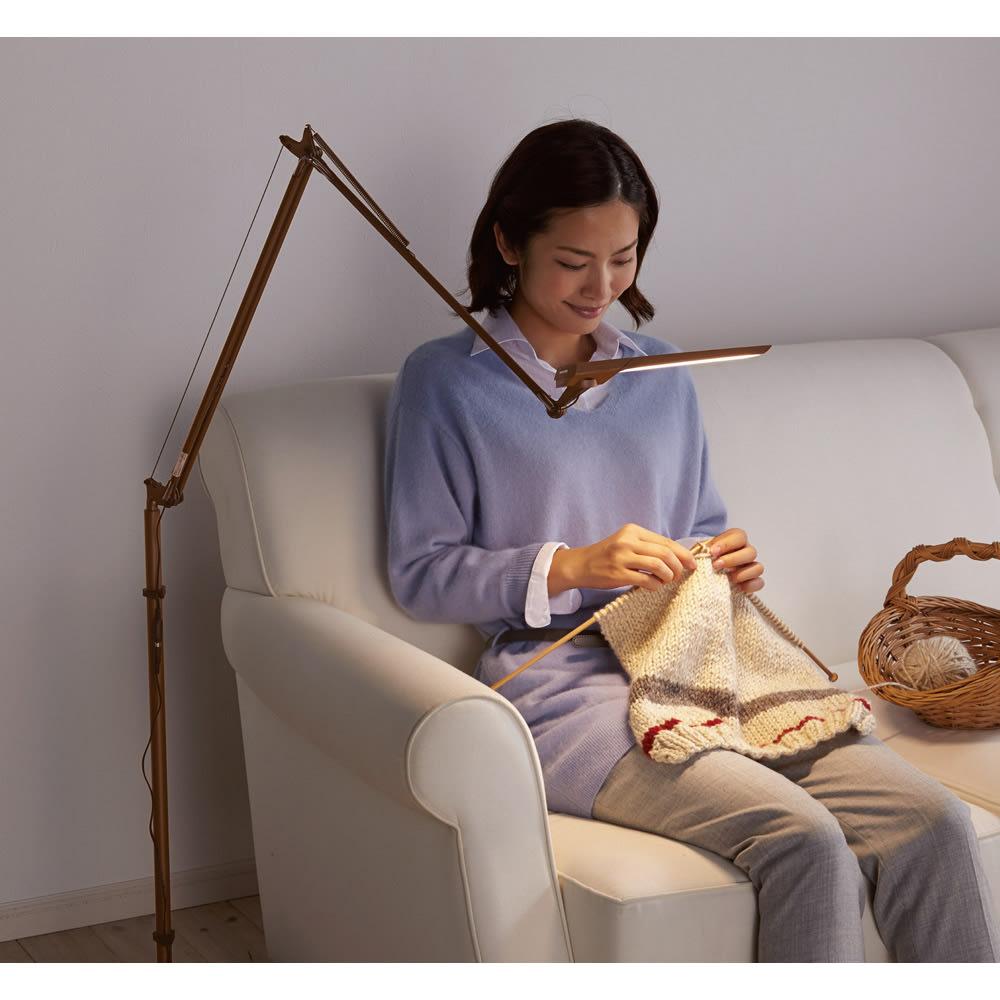 フロア型読書灯 LEDエグザーム DIVA (イ)ブラウン チラつきがないやさしい光だから、長時間の読書にも安心です。