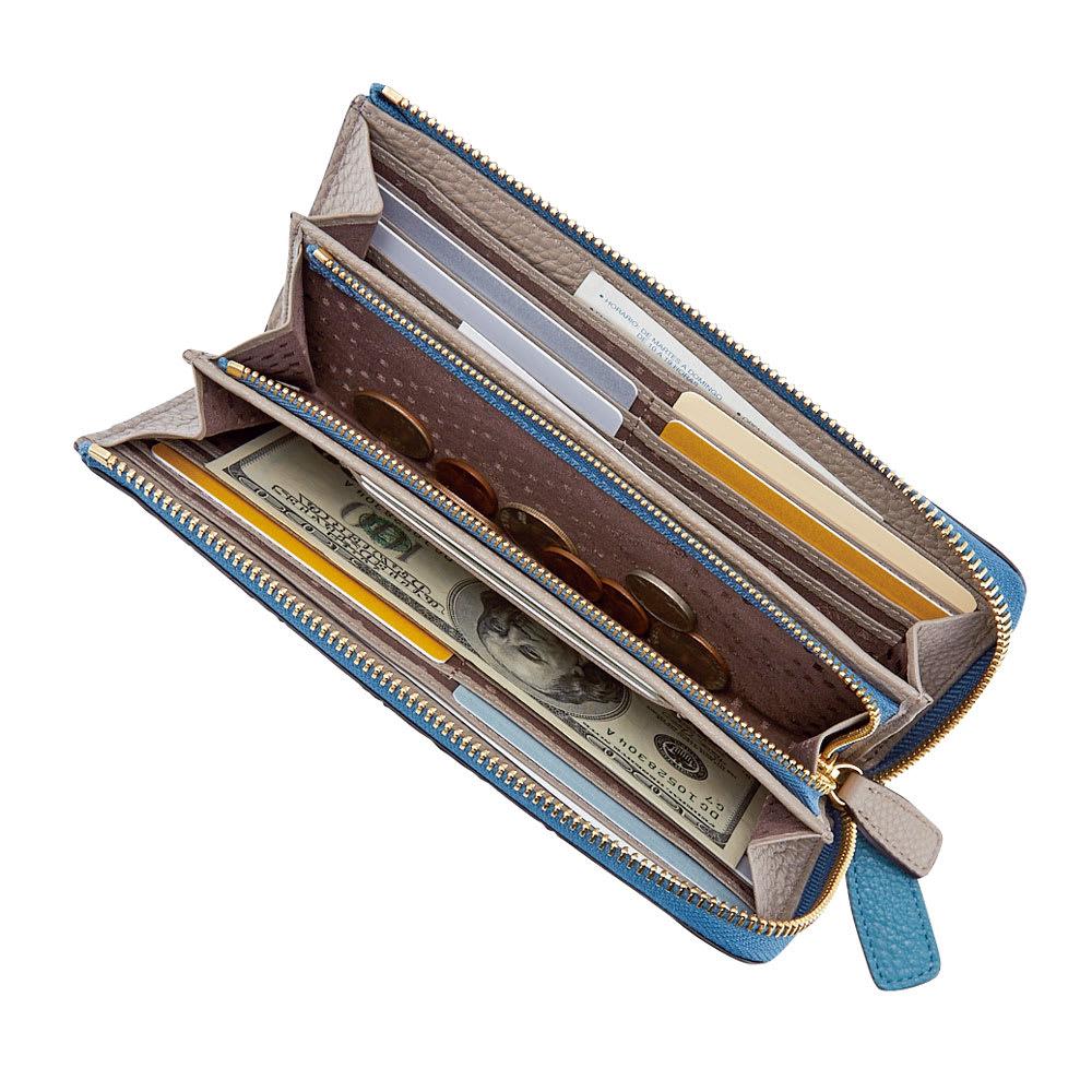 ペレボルサ 長財布/二つ折り財布 L字ファスナー長財布 開いた図