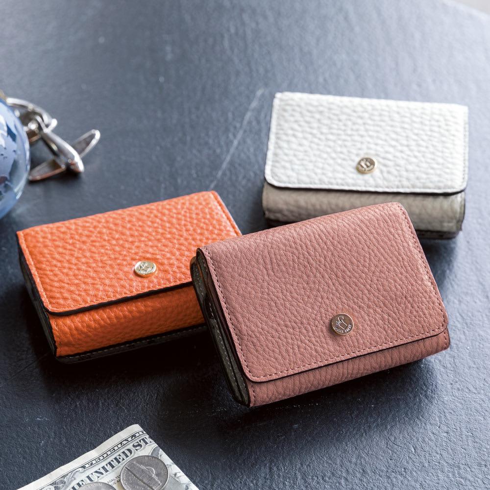 PELLE BORSA/ペレボルサ フラット3つ折り財布 左から(イ)オレンジ (オ)ダスティピンク (エ)ホワイト ※(オ)ダスティピンクはdinosだけのオリジナルカラーです