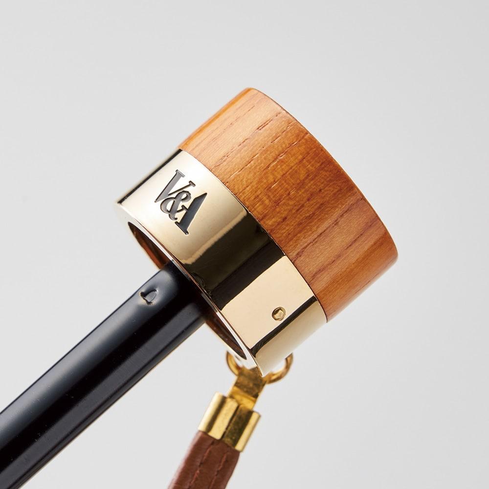 V&A モリス  いちご泥棒 ジャカード生地晴雨兼用傘 折りたたみ傘 ハンドル部分には、アカシアの天然木を使用。