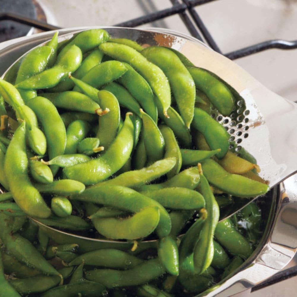 ののじ 穴あきおたも 大 枝豆や野菜などが茹で上がったら、ザルを使わず簡単にすくいあげられます。