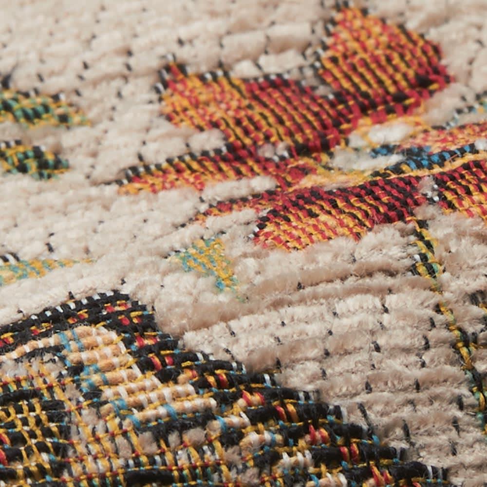 イタリア製ジャカード織ラグ〈イスタ〉 (ア)グレージュ 素材アップ