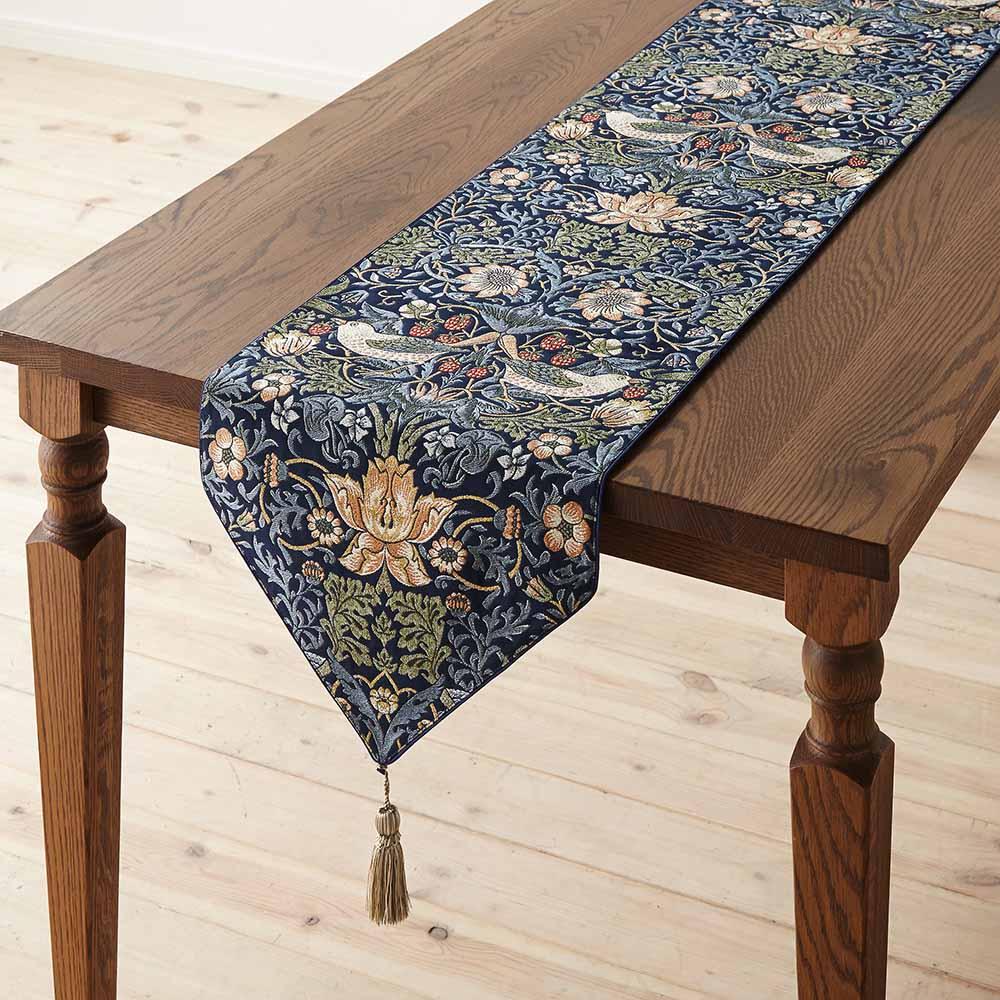 モリスデザインスタジオ ジャカード織テーブルランナー 〈いちご泥棒〉 (ア)ダークブルー系