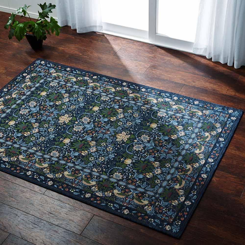 ベルギー製モリスゴブラン織ラグ〈いちご泥棒〉 (イ)ダークブルー ※写真は約140×200cmです。