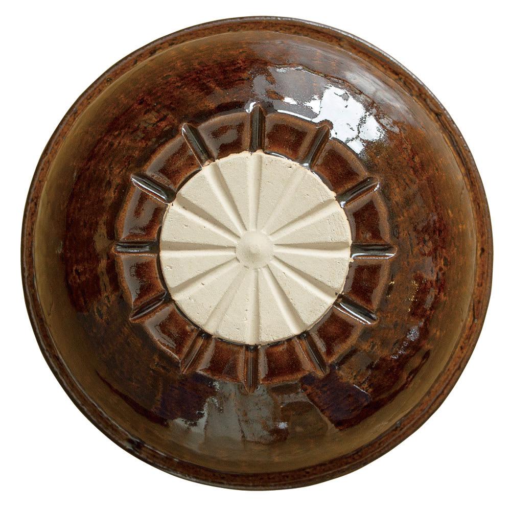 ロースト土鍋 鍋の裏側です。土鍋底面になべ中央が高温になりにくい特殊加工がしてあるから空焚きや長時間料理か可能なのです。
