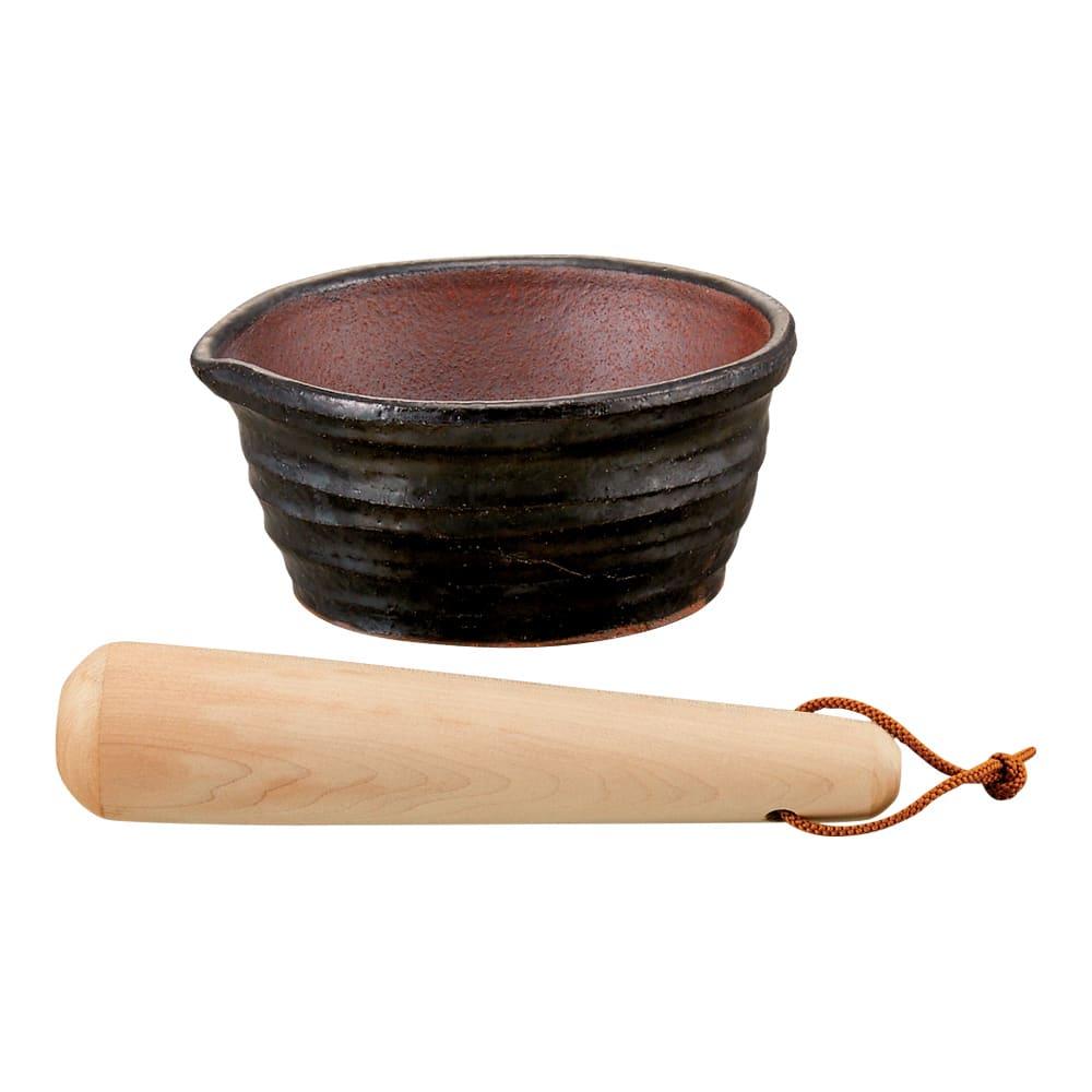 万古焼の溝のないすり鉢とすりこ木 約直径15.5cm 518703