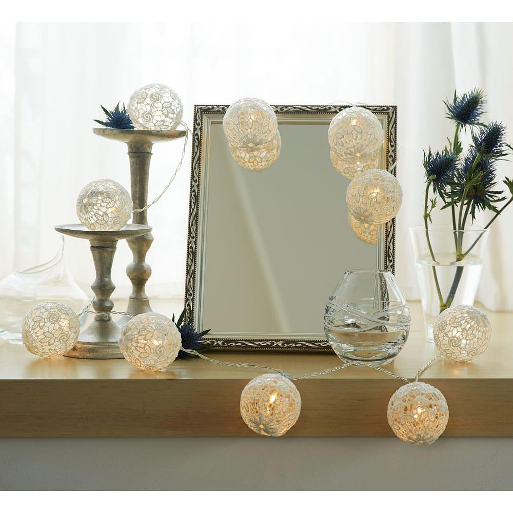 LEDライト ガーランド コーディネート例 もちろんお部屋で使用してもエレガント こちらは1個仕様時