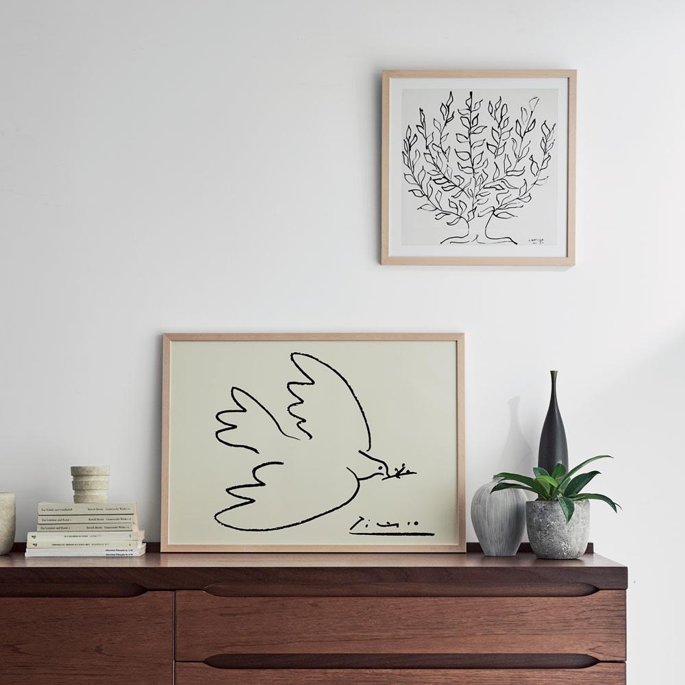 インテリア雑貨 日用品 アート 絵画 カレンダー アートフレーム 壁掛け ピカソのアート はと 515402