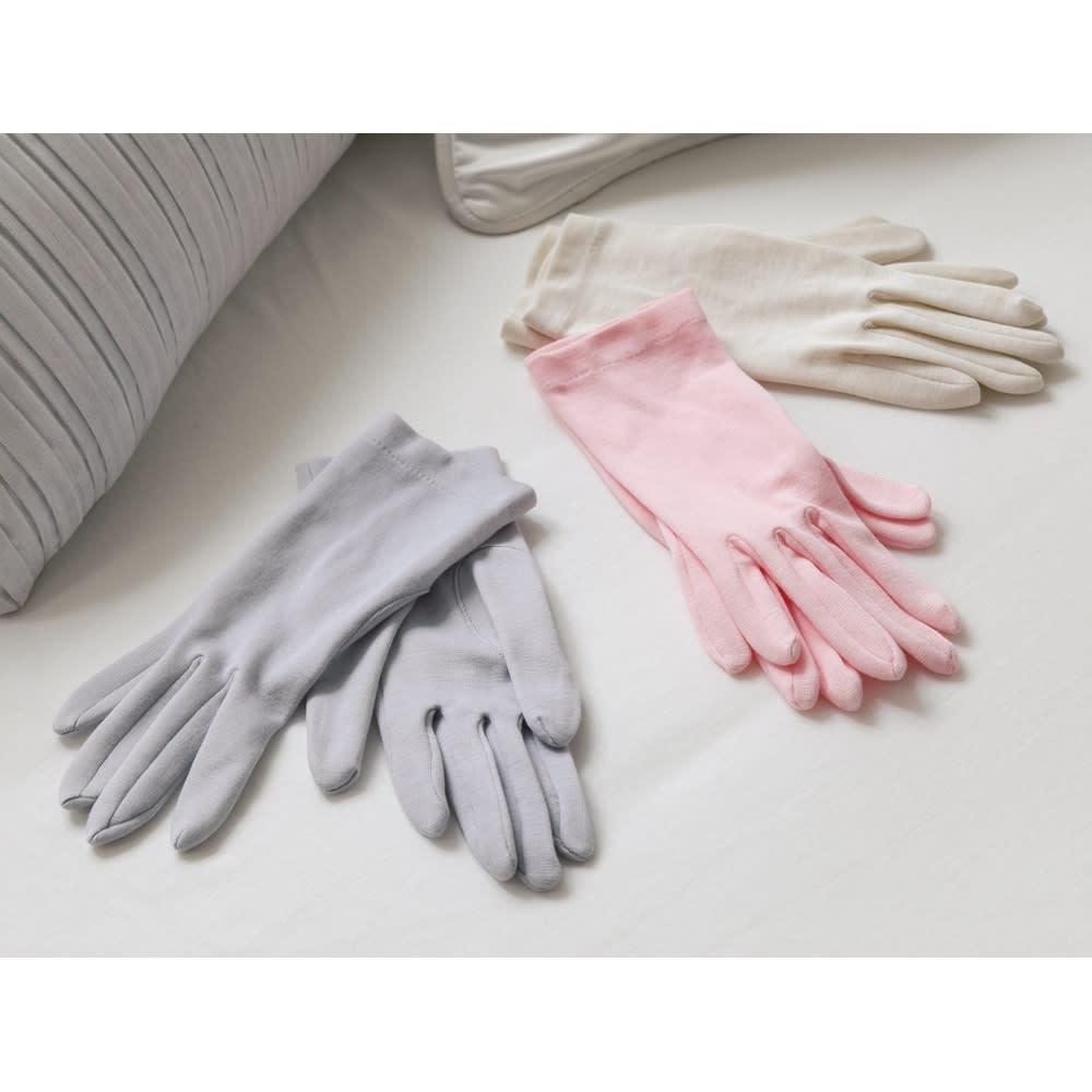 就寝用裏シルクうるおい手袋同色2双セット ピンク 【通販】 【レディース・女性】