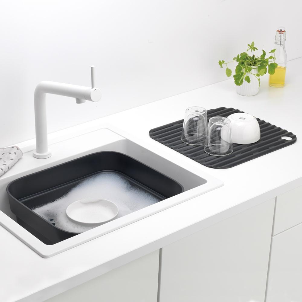 ブラバンシア ウォッシュアップボウル 洗い桶と水切りのセット(容量約8L) ライトグレイ/ダークグレイ
