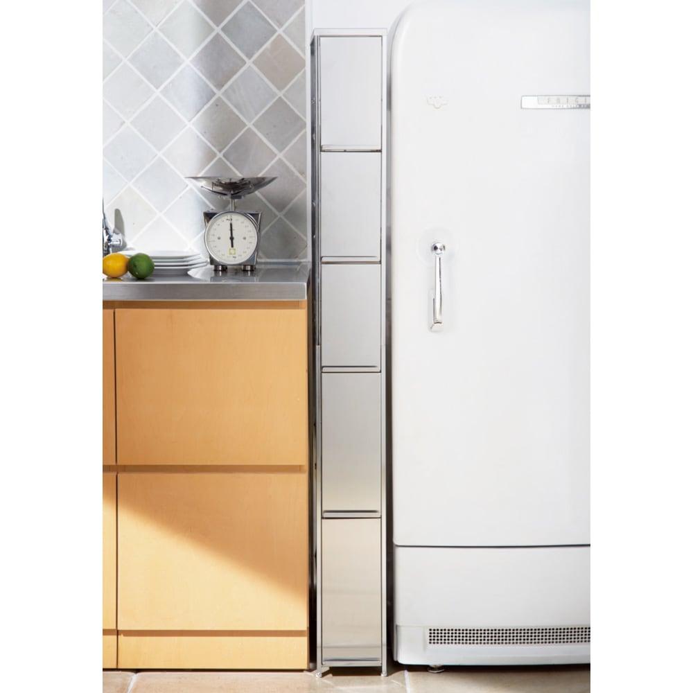 家具 収納 キッチン収納 食器棚 キッチン隙間収納 ステンレス隙間ラック(奥行45cm) 幅16cm 5段タイプ 517214