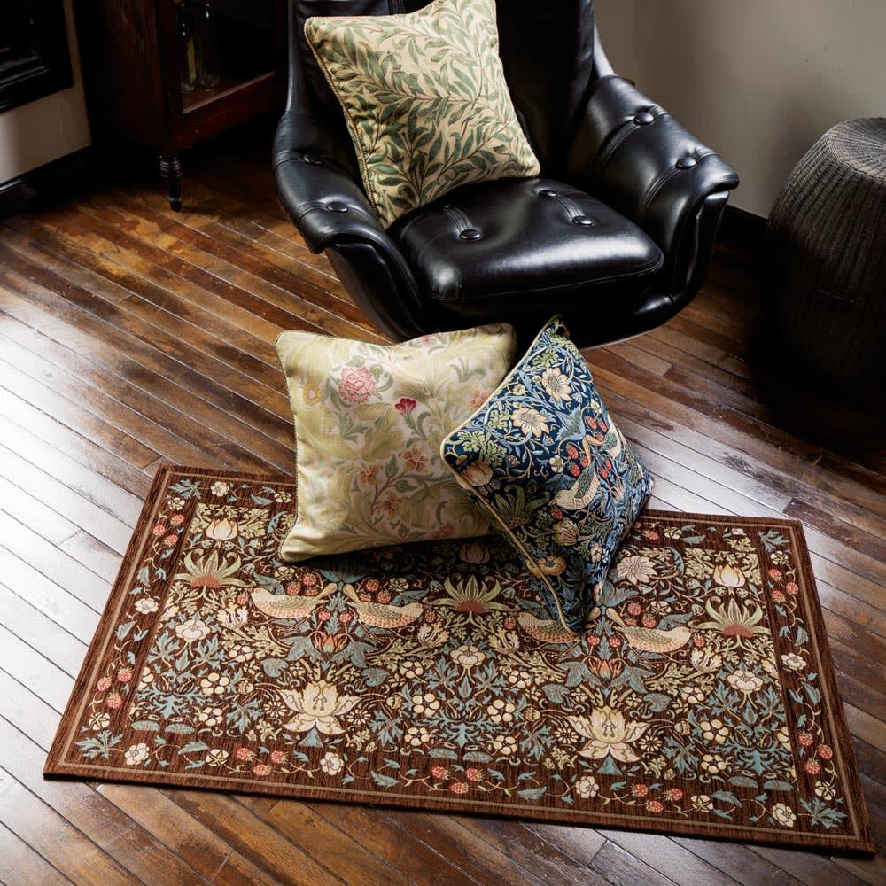 約45×75cm モリスゴブラン織りマット〈いちご泥棒〉 ブラウン/ダークブルー 玄関マット