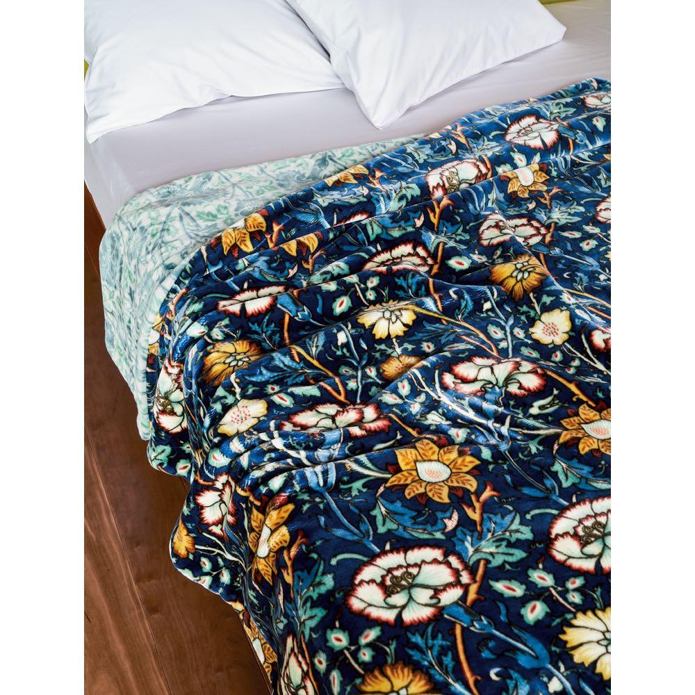 ベッド 寝具 布団 毛布 ブランケット 敷き毛布 シングル(モリスギャラリー リバーシブル毛布〈ピンク&ローズ〉) 518107