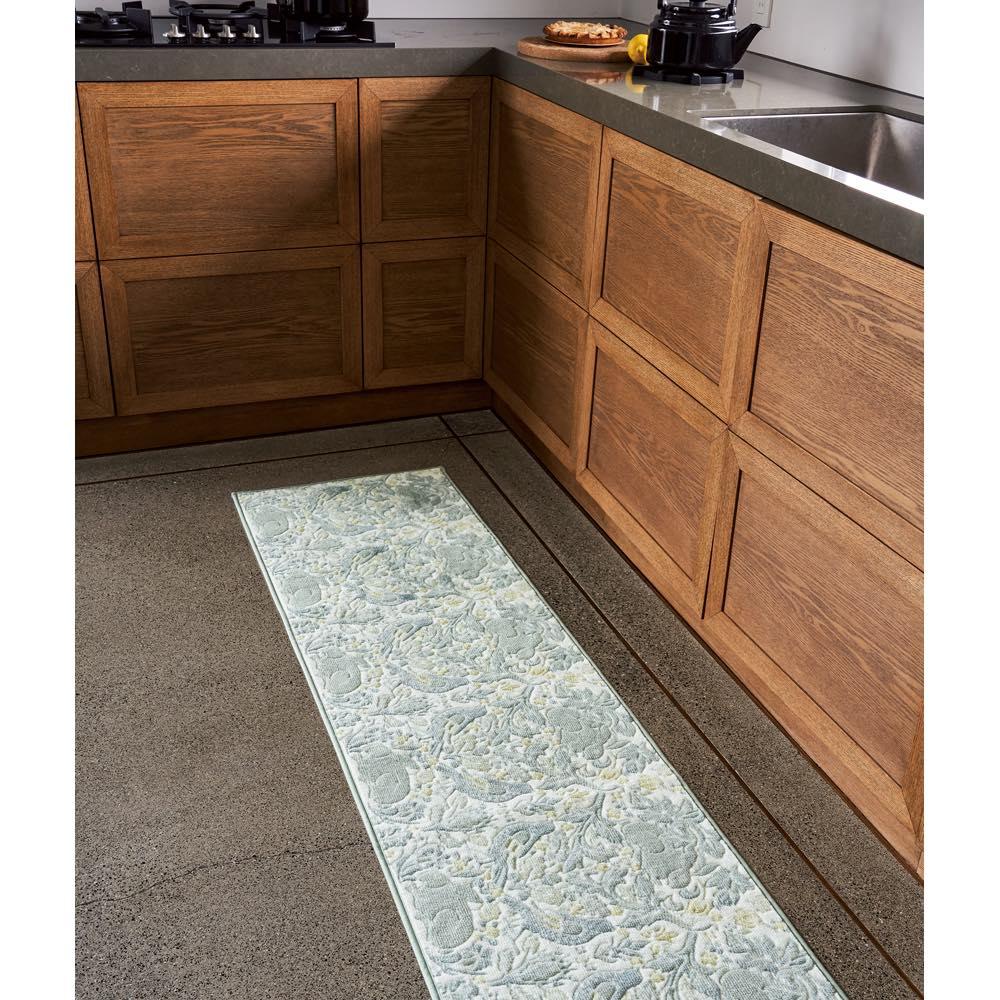 モリスデザインスタジオ 抗菌防臭キッチンマット〈ブラザーラビット〉 約50×270 グリーン/ベージュ