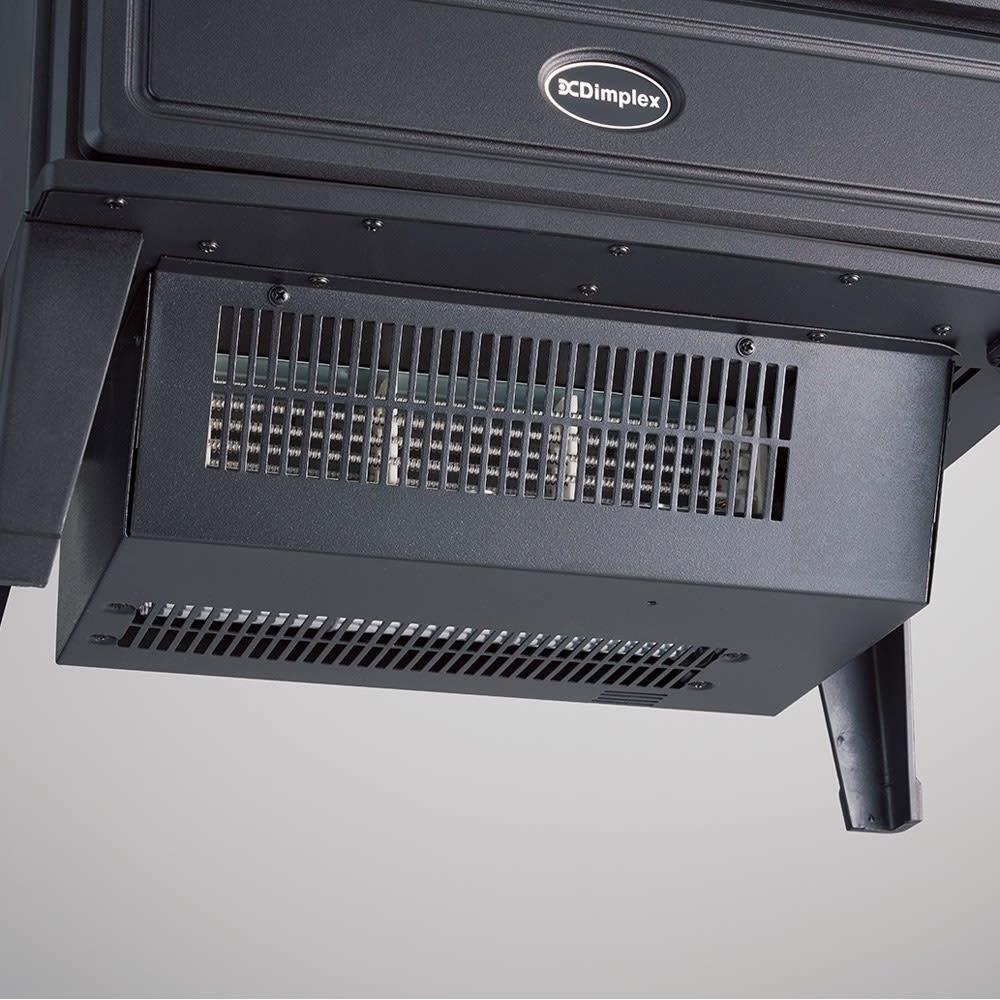 ディンプレックス 暖炉型ファンヒーター ウィローブルーク 本体下部のファンヒーターで足元からやさしく温めます。
