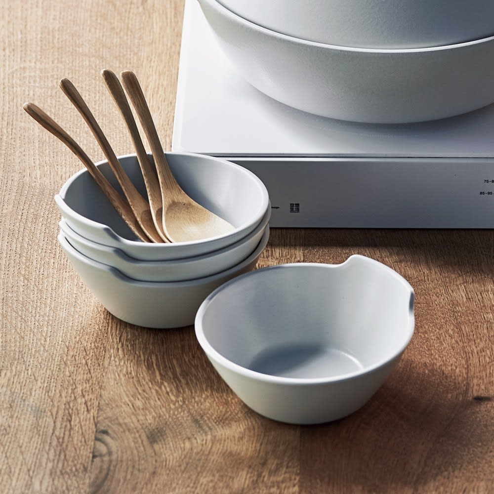 KAKOMI IHでも使える土鍋/とんすい とんすい同色4個組 取り皿4個組 (ア)ホワイト(4個組)