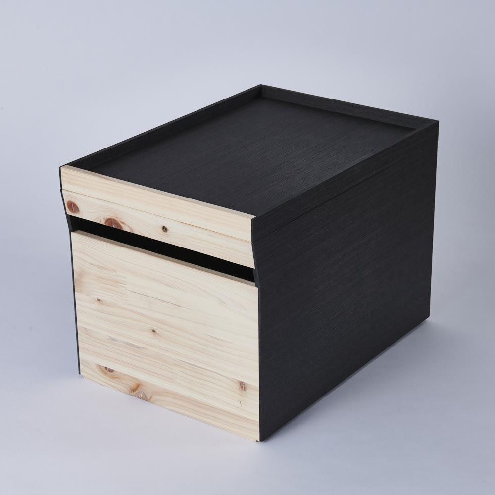 Hinoki+(ヒノキプラス)スタッキング収納ボックス Lサイズ1個 Lに専用トレーの組み合わせ