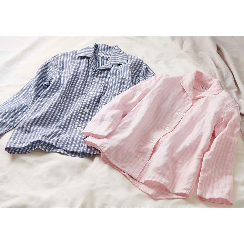 UCHINO(ウチノ) マシュマロガーゼパジャマ ダブルストライプ レディース 左から メンズ用、レディース用