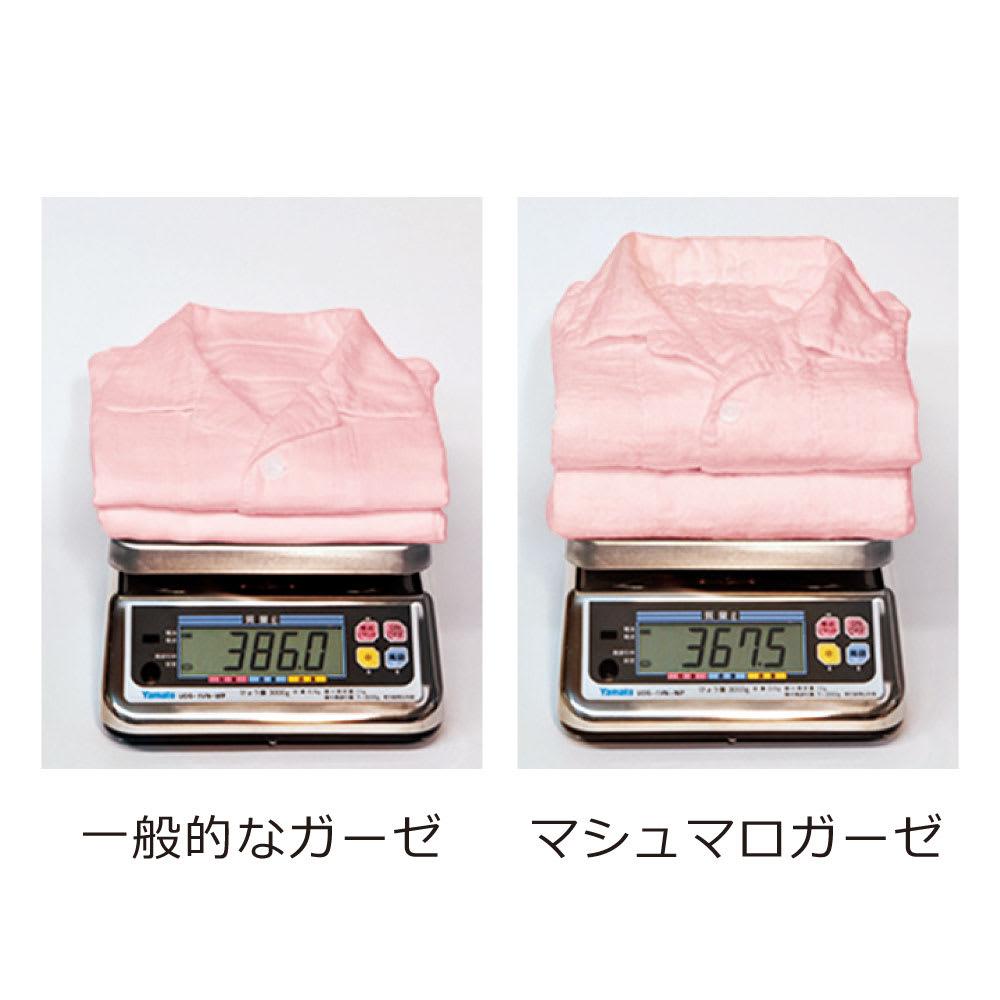 UCHINO(ウチノ) マシュマロガーゼパジャマ ダブルストライプ メンズ 比べてみました!一般的なガーゼと比べて、マシュマロガーゼの パジャマはこんなにふっくら軽やか。(※メーカー調べ)