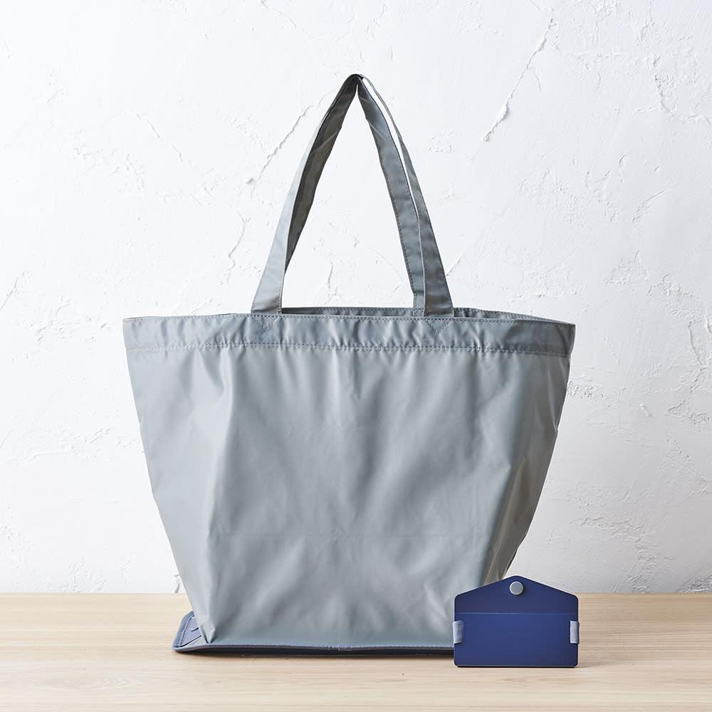 ORU tote(折るトート) しっかり底の折り畳みエコバッグ (ウ)ライトグレー/ネイビー