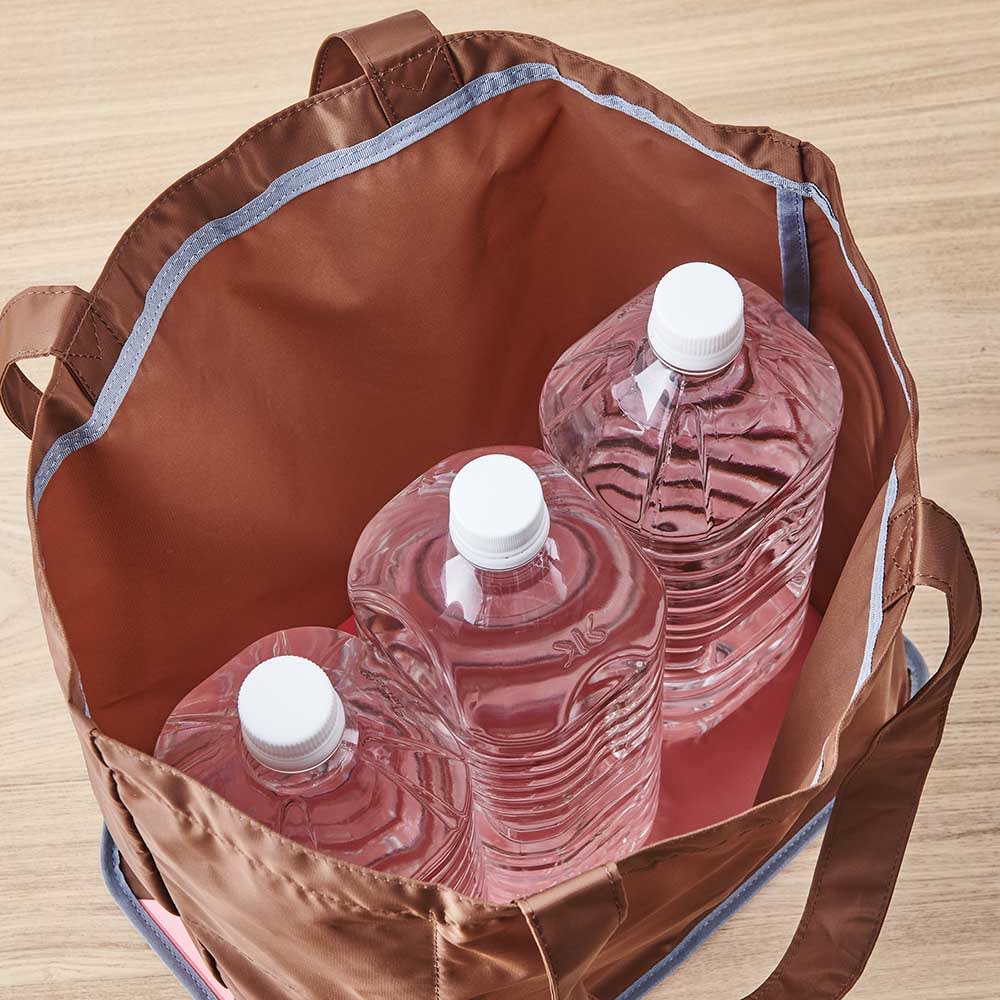 ORU tote(折るトート) しっかり底の折り畳みエコバッグ 2Lペットボトルを3本入れても大丈夫!