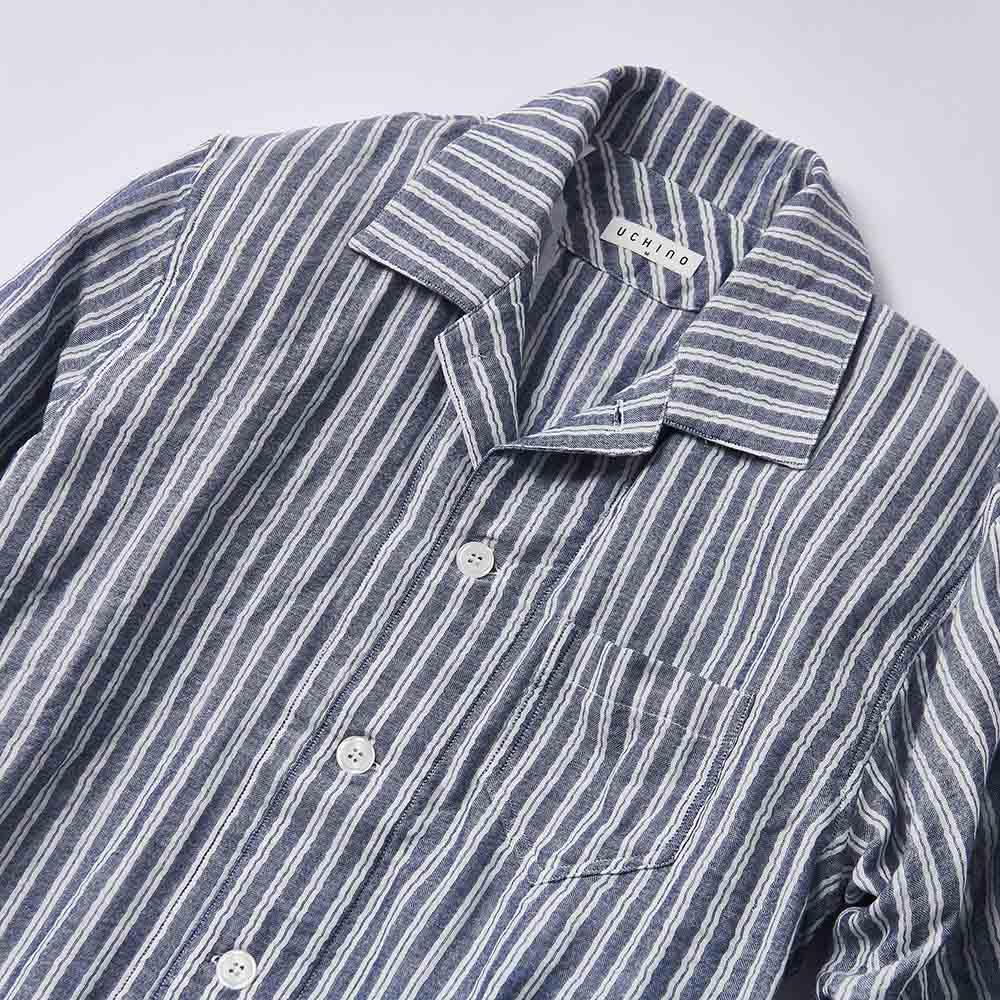 UCHINO(ウチノ) マシュマロガーゼパジャマ ダブルストライプ メンズ (ア)ダークブルー メンズは開襟シャツタイプで胸ポケット付き。
