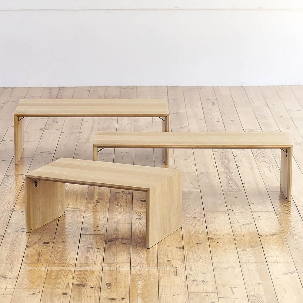 Slim すっきり折りたたみ可能なテーブル105 上から 幅105cmタイプ、幅120cmタイプ、幅75cmタイプ