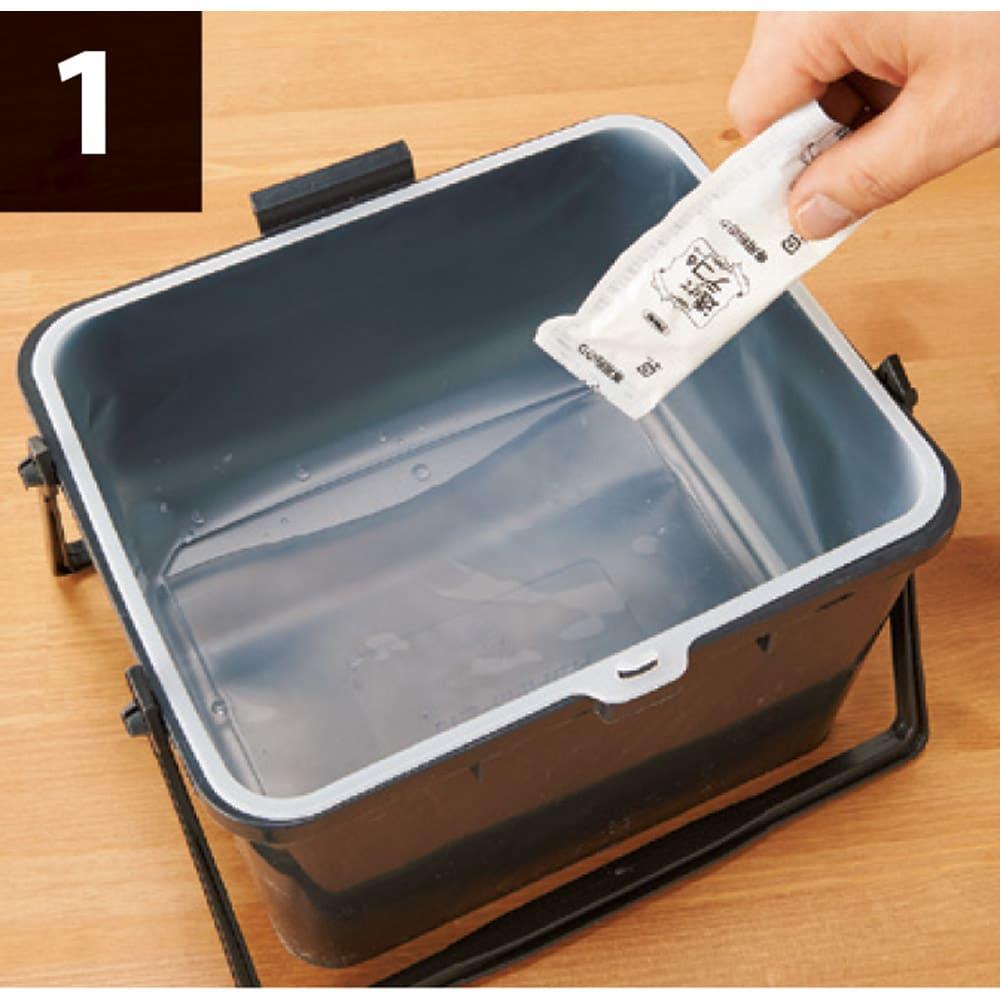 【ディノス特別セット】シート2本組(透けるウォールシート限定柄) 貼り方の作業工程1 付属の粉のりを水で溶かし