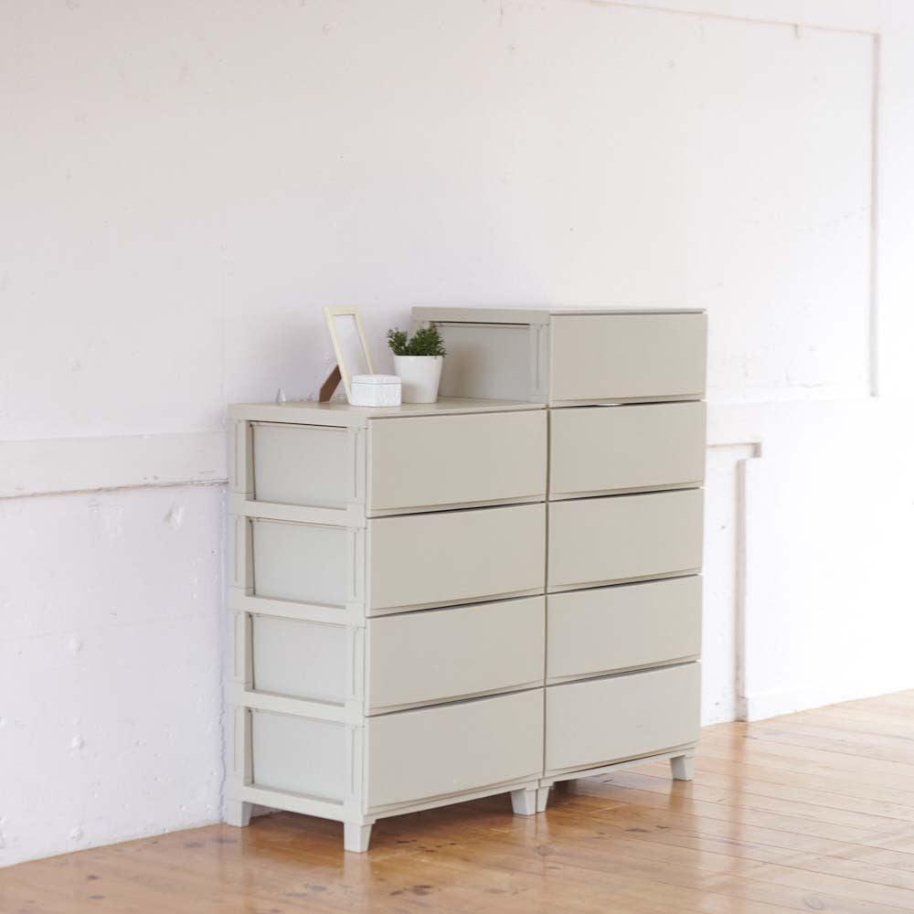 スムーズ引き出し収納ワイド 5段・幅54cm (dinos限定色 カフェオレカラー) ※お届けは(写真右)5段タイプです。収納イメージ