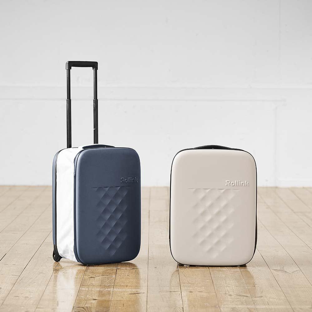 ROLLINK 薄くたためるスーツケース容量40L/機内持ち込みサイズ ネイビーケイ/グレージュケイ スーツケース(ハードタイプ)