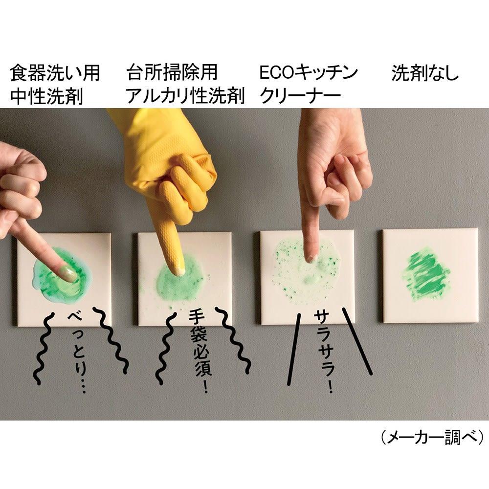 グリーンモーションECOクリーナー 3点セット(本体1・リフィル2) 白いタイルにオイルパステルを塗りつけて実験。3種の洗剤をかけて、10秒間指で軽くこすります。ECOキッチンクリーナーは油を分解してサラサラに。