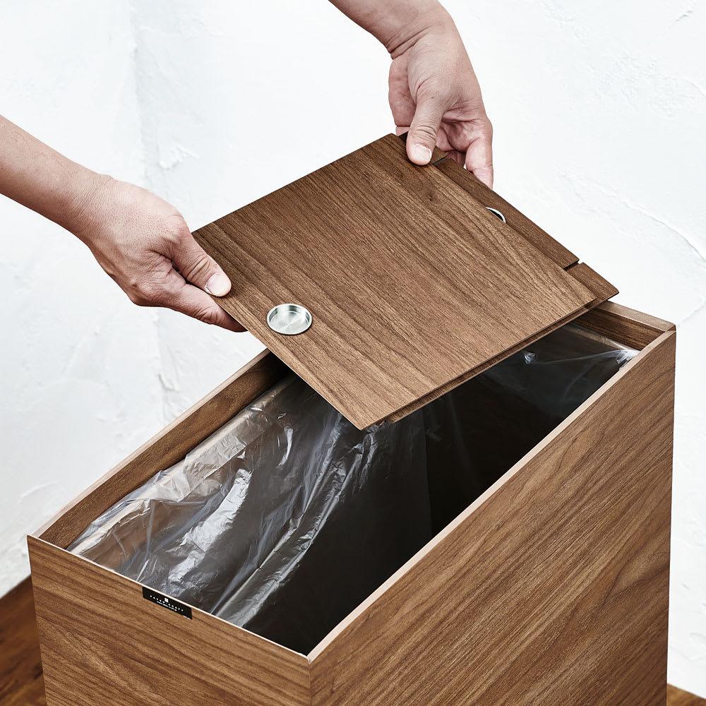 木目調ダストボックス 容量45L(引き出しなしタイプ) 蓋はすべて取り外せるからゴミ袋の出し入れもスムーズ