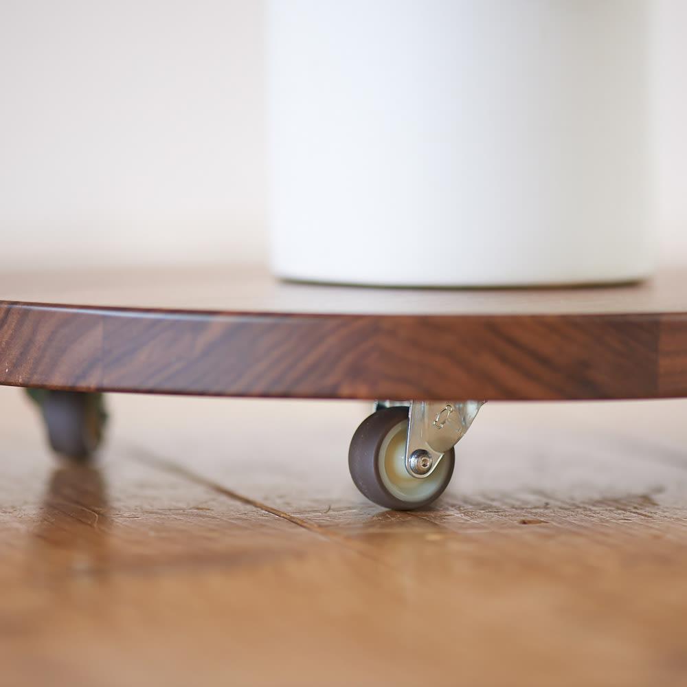 キャスター付きプランターベース ウォールナット 直径24cm キャスター付きだから、大きな鉢を置いても移動がラク。