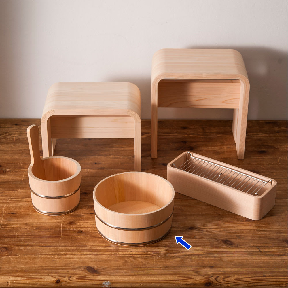ambai(アンバイ) 風呂道具シリーズ 木曽産さわらの湯桶(風呂桶) ambaiシリーズ ※風呂椅子・シャンプーラックは廃盤。リニューアルしており形状が変更しております。