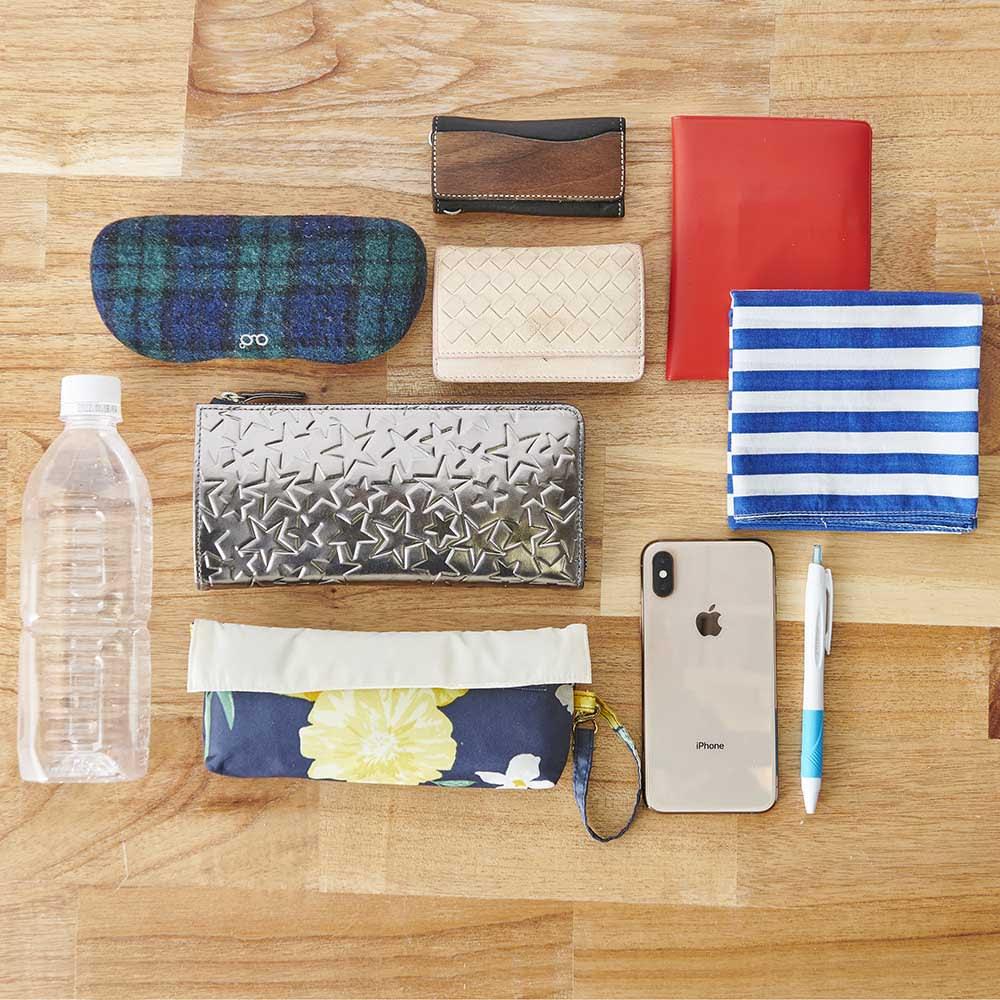 Coquette/コケット キュービック バッグ dinos限定カラー 長財布、ポーチ、メガネケース、折りたたみ傘、ペットボトル…ここまで入ります。