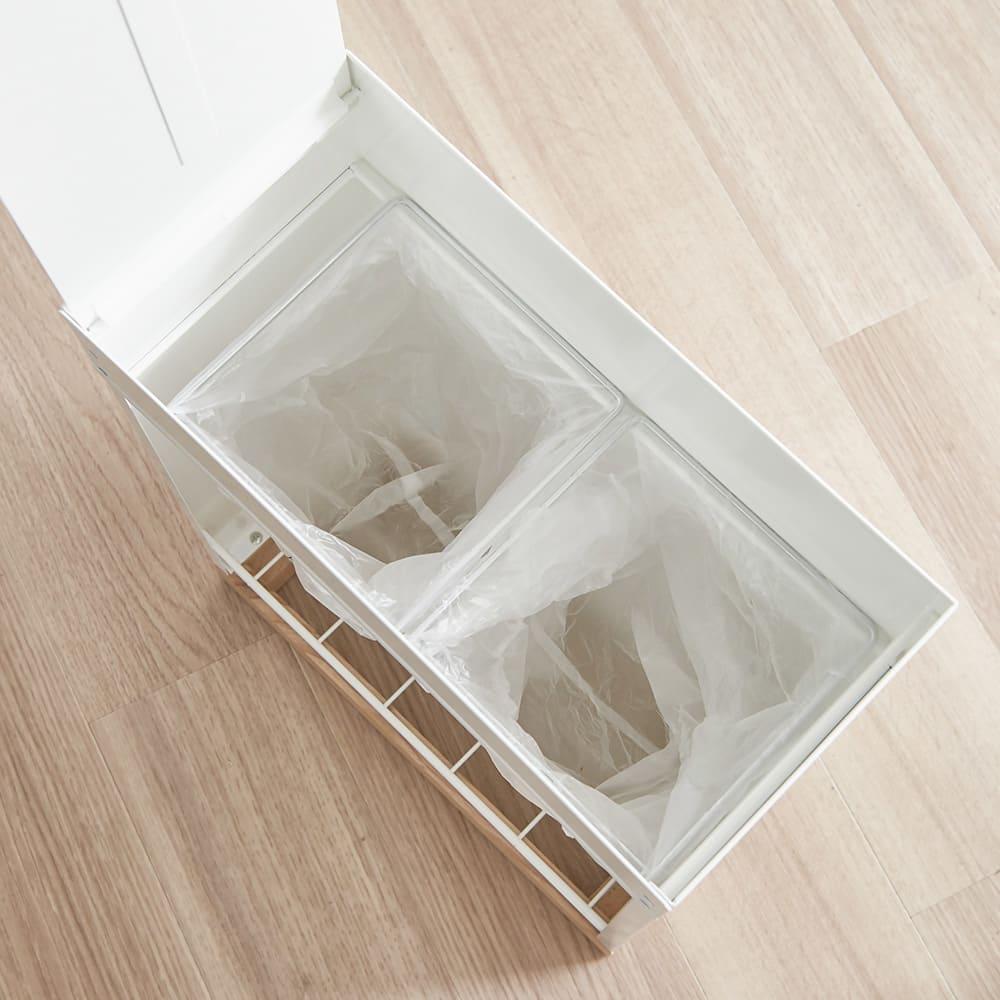 ミヤケデザイン ダストボックス 30L 木製台タイプ(蓋なし・蓋付き) 10L袋枠×2 付きだから2分別にも対応可能です。