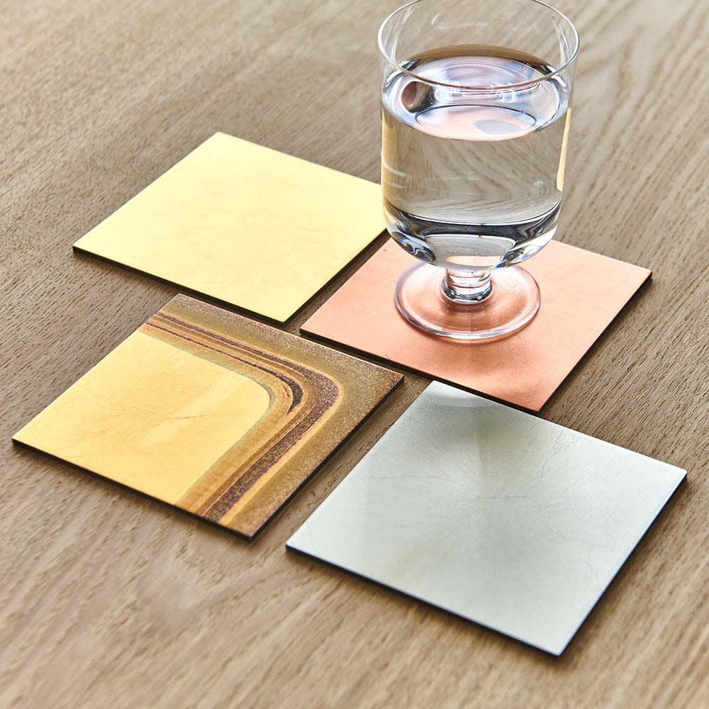 HAKU LA TABLE(ハク ラ ターブル) コースター同色2枚組(約10×10cm) 使用イメージ ※お届けは同色2枚組です。