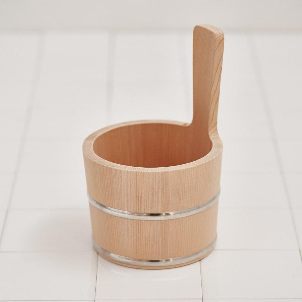 ambai(アンバイ) 風呂道具シリーズ 木曽産さわらの手桶(風呂桶) ベージュ お風呂グッズ・バス用品