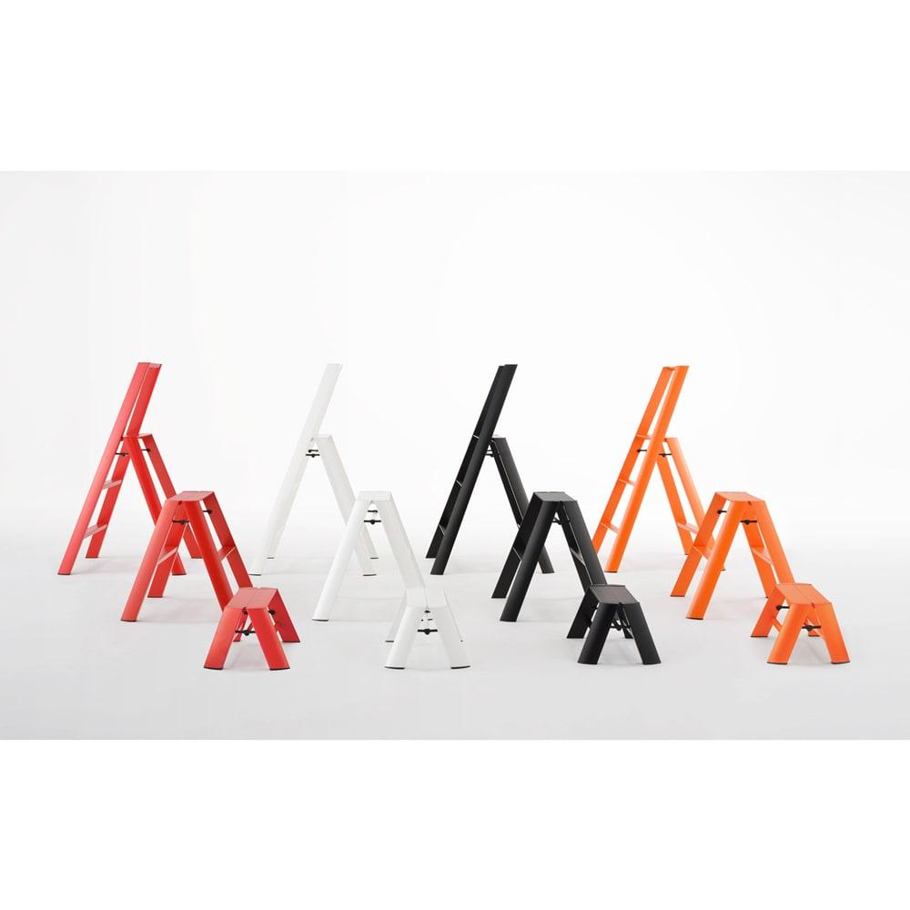 METAPHYS/メタフィス アルミステップ ルカーノ 大(3段タイプ) 左からレッド、ホワイト、ブラック、オレンジ