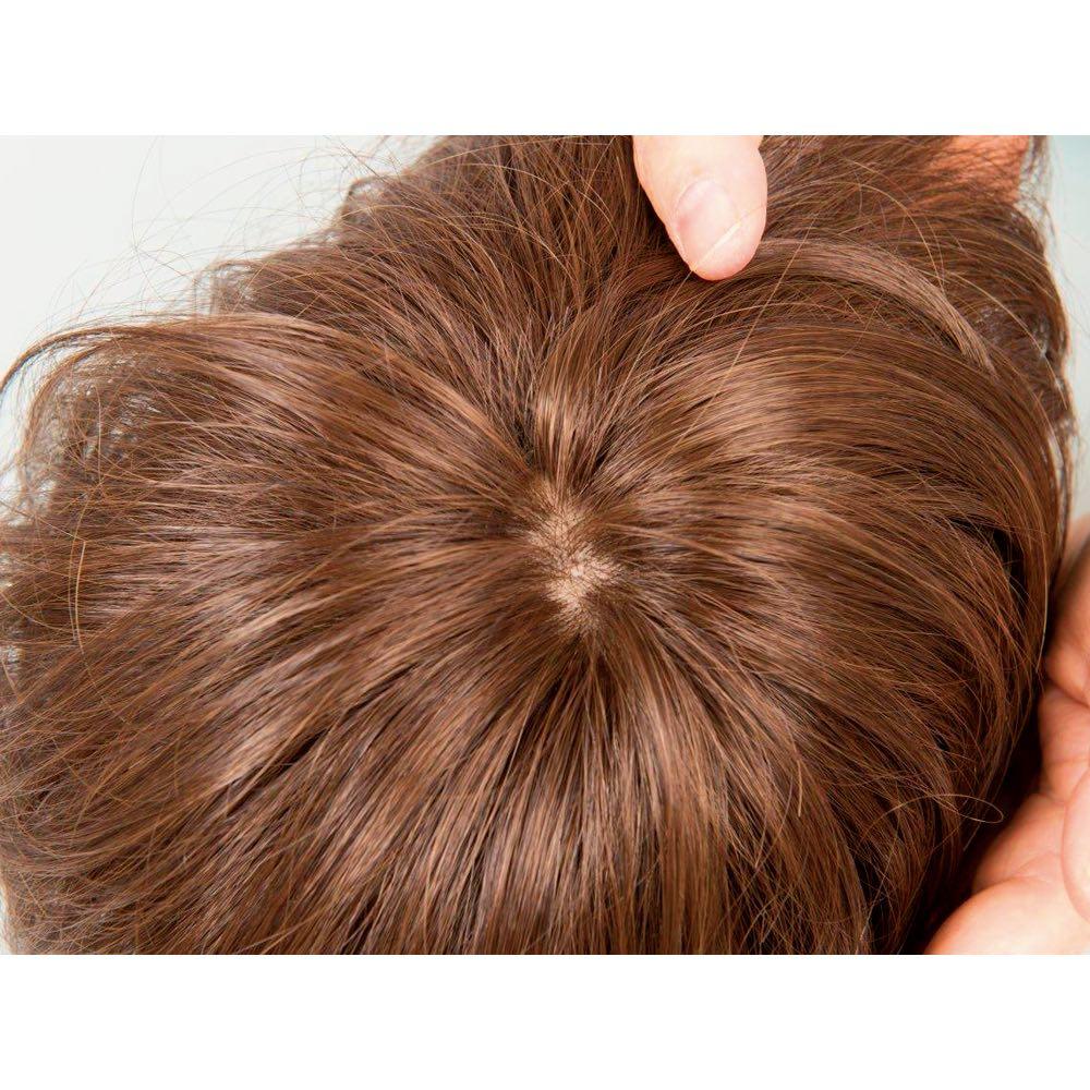 銀座サロン KAZUE WIG フルウィッグ つむじや額部分は人工地肌付きで自然な仕上がり。