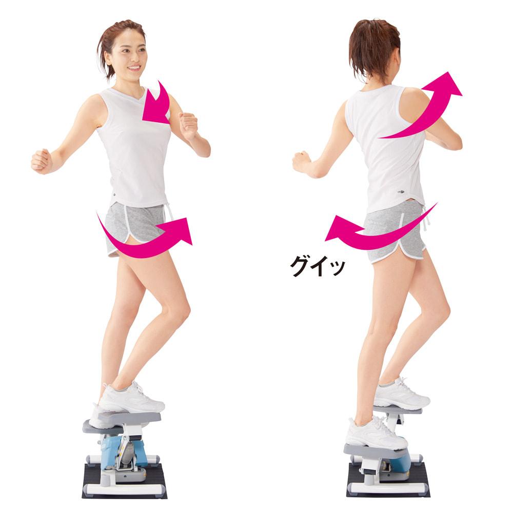 AEROLIFE/エアロライフ ターンステッパー 乗る向きで効く部位が変わる 【後ろ向き】ウエストや内ももの筋肉にアプローチします。