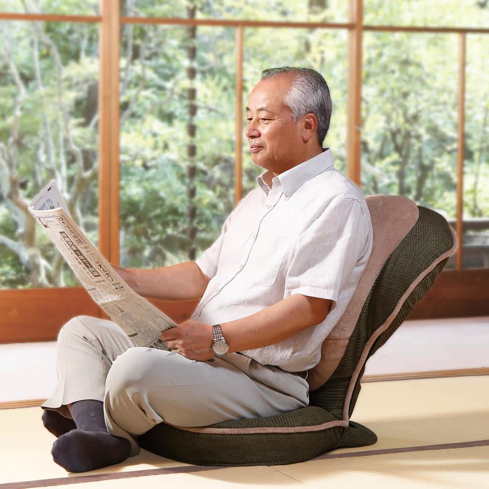 美姿勢GUUUN座椅子 エグゼボード ゆったりタイプなので、男性にもおすすめ! (イ)モスグリーン