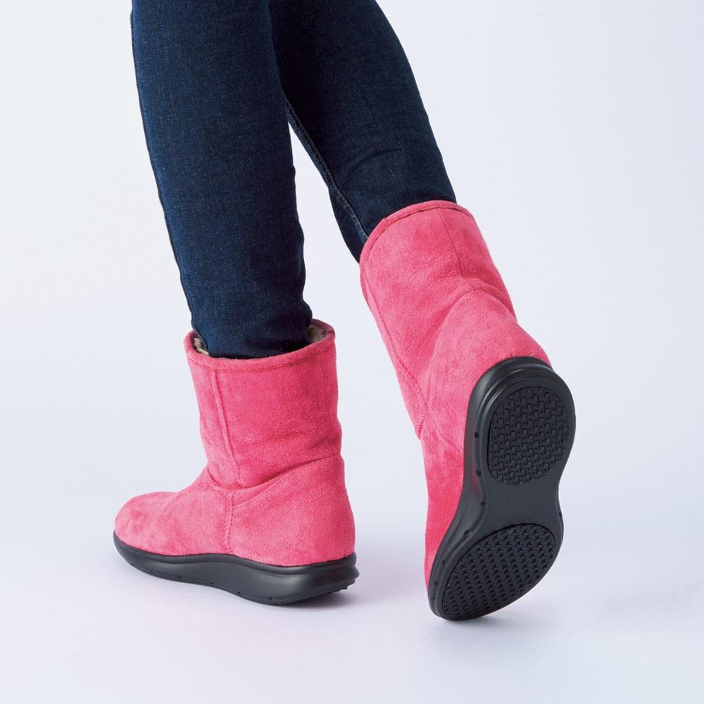 AQUALEATHER(R)/アクアレザー 洗えるショートブーツ (エ)ピンク コーディネート例