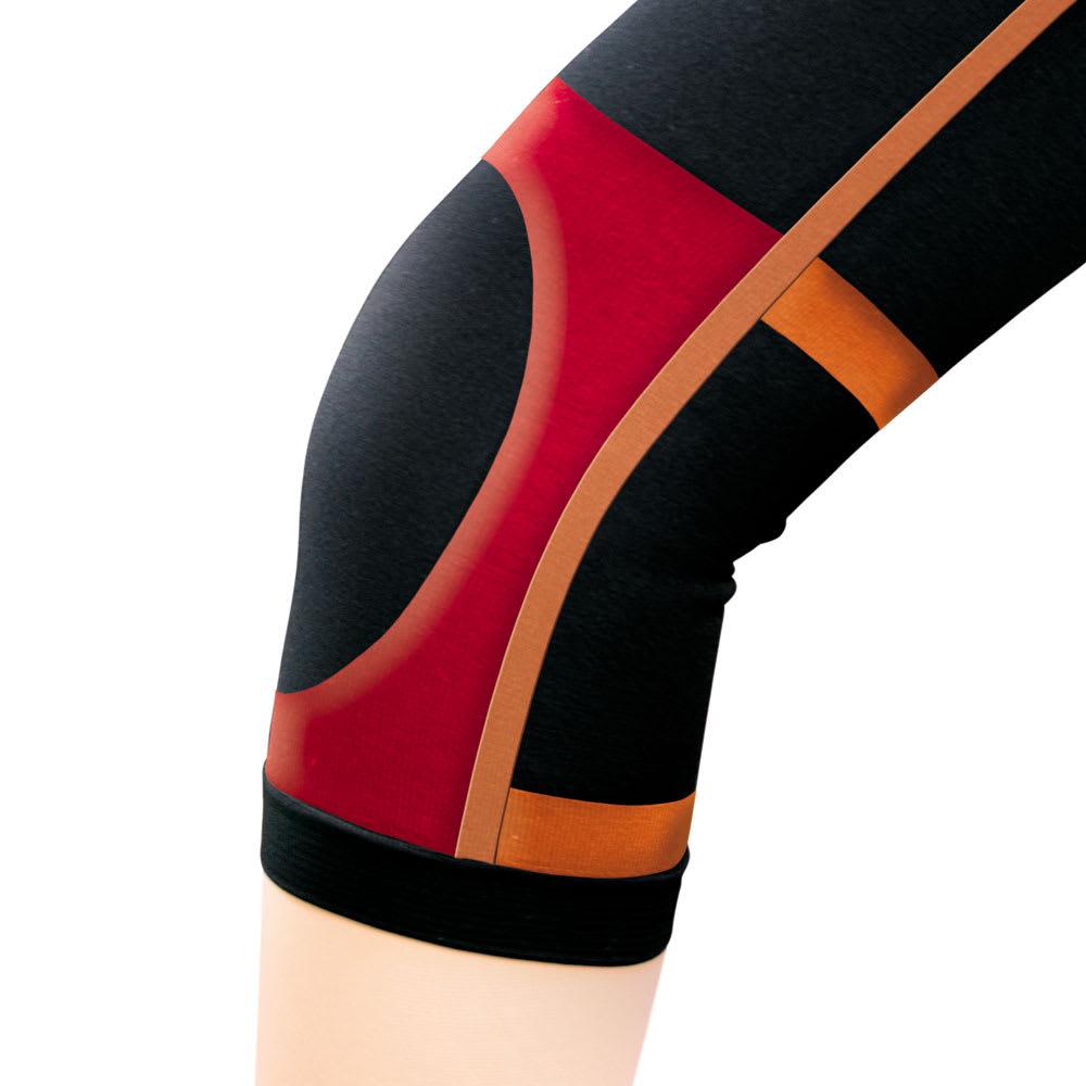 遠赤・膝らくスッキリ!太ももスリムスパッツ2枚組 スリム7分丈(同色同サイズ) あったか遠赤外線繊維ストレッチ素材 テーピング機能で膝安定!