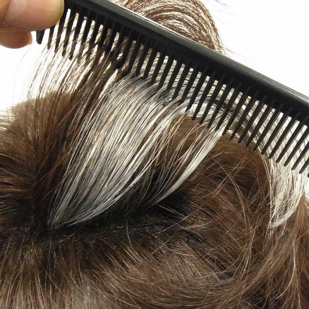 人毛100% 爽やかヘアピース 自毛が出せる穴あき