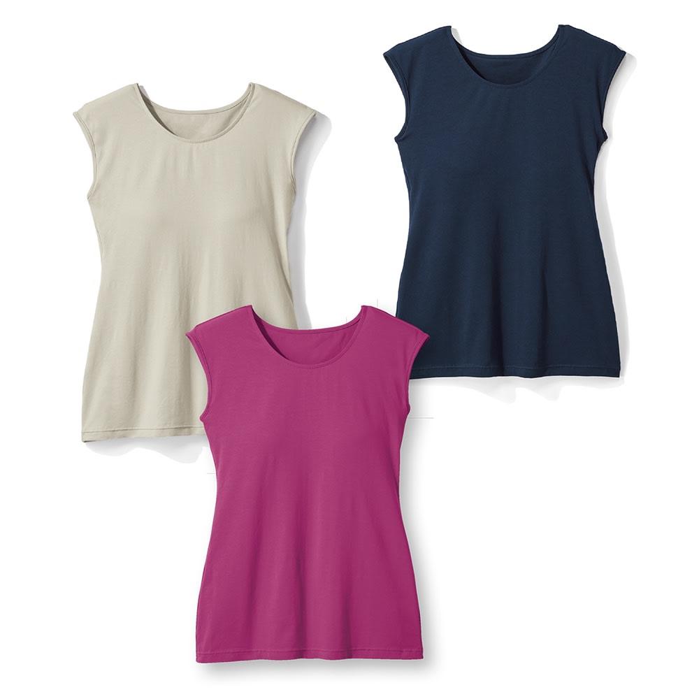 クールコットンカップ付きTシャツ 上から時計回りに(ア)ネイビー (エ)マゼンダ (イ)ライトグレー 綿なのに接触冷感、吸水速乾機能を持つ「クールコットン(R)」を使用。