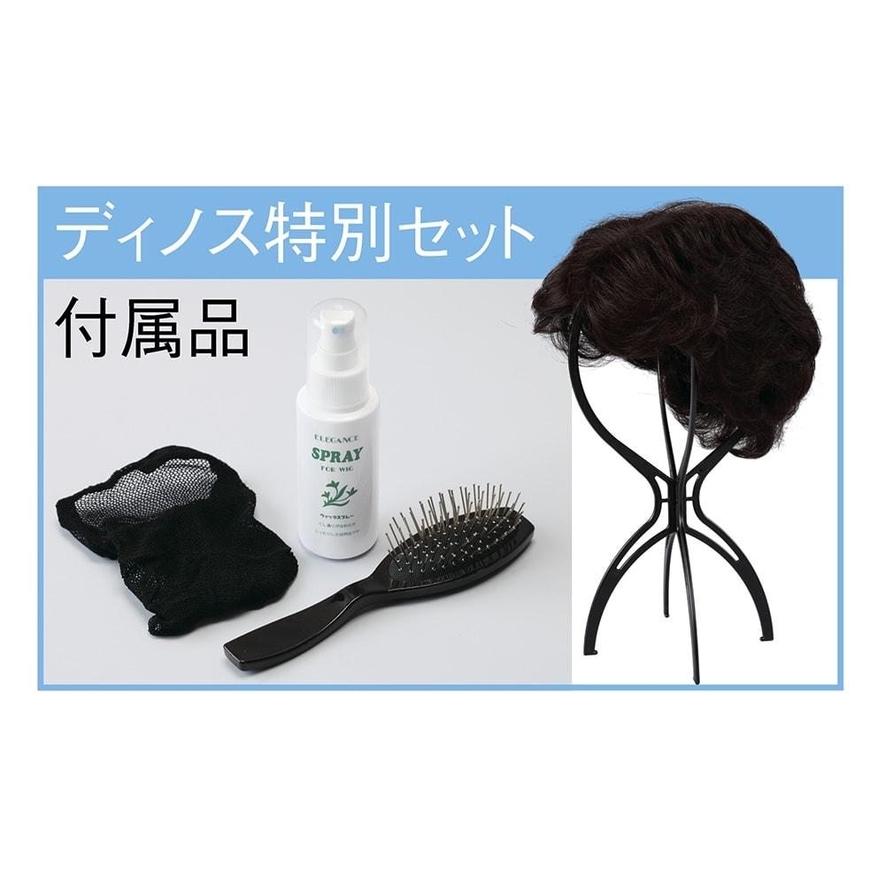 人毛100%地肌付きエレガントショート 保管に便利なウィッグスタンド付き