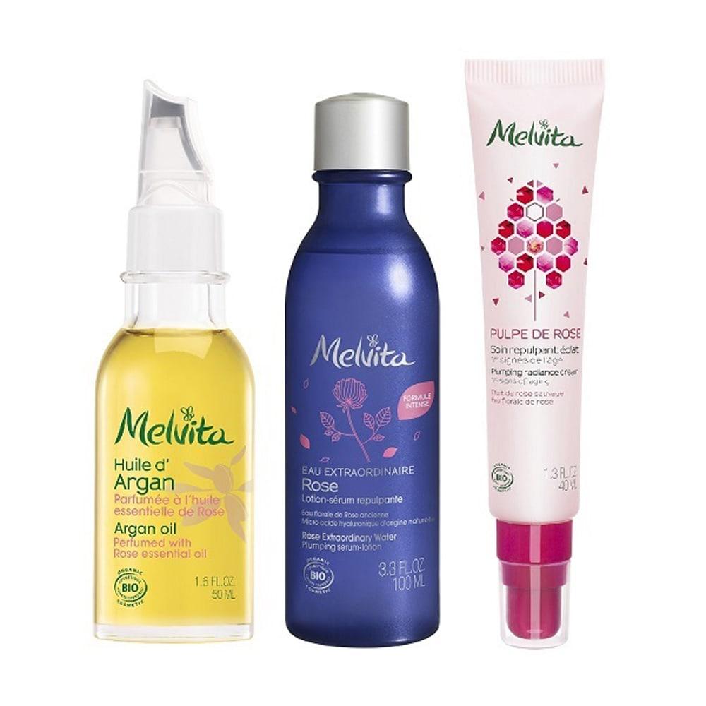 Melvita/メルヴィータ アルガンオイル ローズ 3STEP スキンケア化粧品セット